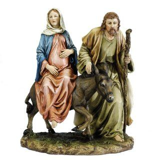 "Josephs Studio 10"" La Posada ""The Lodging"" Figure Joseph with Mary Riding on Donkey on their way to Bethlehem   Individual Nativity Figurines"