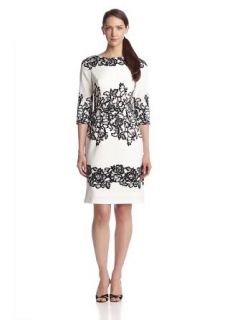 Adrianna Papell Women's 3/4 Sleeve Placed Print Lace Dress at  Women�s Clothing store:
