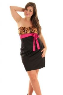 DHStyles Women's Sexy Strapless Plus Size Cocktail Dress   XL Plus   Black, Fuchsia at  Women�s Clothing store