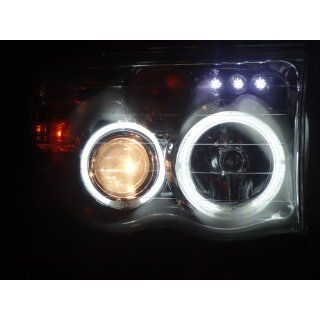 Dodge Ram 2002 2003 2004 2005 CCFL LED Halo Projector Headlights   Chrome: Automotive