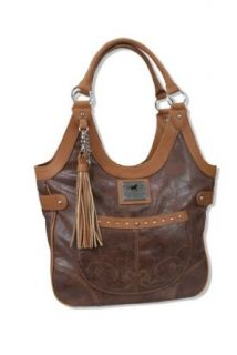 Cowgirl Up� Running Horse Classic Western Shoulder Bag Brown: Clothing