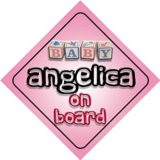 Baby Girl Angelica on board novelty car sign gift / present for new child / newborn baby Baby