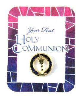 6030156 Holy Communion First Communion Lapel Pin Gift Present Cup Chalice Server Layman Host: Jewelry