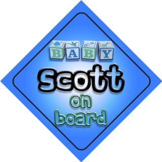 Baby Boy Scott on board novelty car sign gift / present for new child / newborn baby  Child Safety Car Seat Accessories  Baby