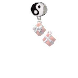 Small 3 D Pink Present Box with Silver Bow Yin Yang Charm Bead Dangle: Delight & Co.: Jewelry