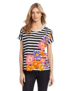 Chaus Women's Scoop Neck Placed Large Daisies On Stripes Tee, Ultra White, Large at  Women�s Clothing store