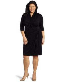 Karen Kane Women's Plus Size Cascade Wrap Dress, Black, 1X at  Women�s Clothing store