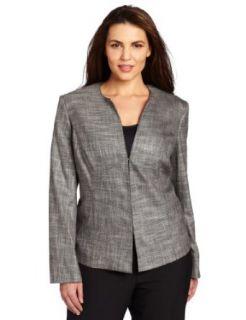 Jones New York Women's Plus Size Jewel Neck Jacket, Shadow Grey Multi, 16W