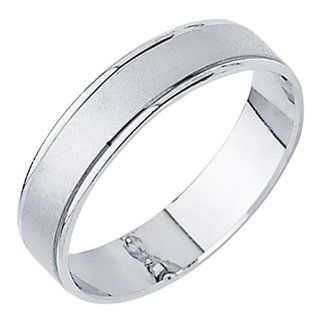 14K White Gold Matte Embossed Designer Wedding Band Ring for Men & Women: The World Jewelry Center: Jewelry