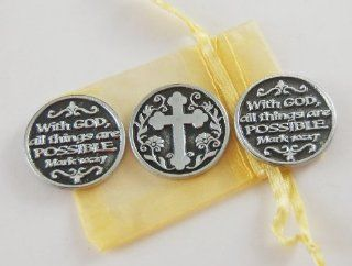 Set of 3 With God All Things Are Possible Pocket Token Coins with Organza Bag  Collectible Figurines