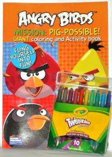 Angry Birds Mission: Pig possible Coloring Book with Twistable Crayola Crayons: Toys & Games