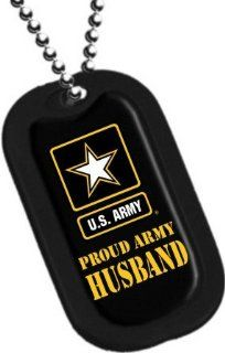 "United States Army Armed Forces ""Proud Army Husband"" Yellow Star Logo Symbols   Military Dog Tag Luggage Tag Key Chain Metal Chain Necklace: Pet Supplies"