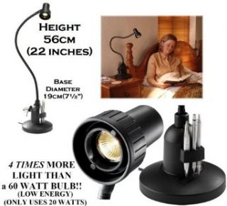 Serious Readers Classic Alex Table 'Book' Light in BLACK ~ provides 4 times more light on the page compared with a 60 watt filament bulb ~ Specialised reading light with focused beam   Latest Version   Energy Efficient 240 watts output but uses on