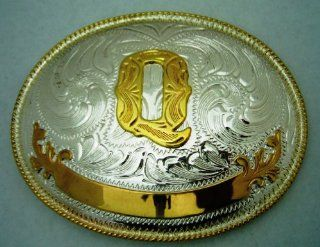 "Name Initial Letter Symbol Monogram Alphabet ""Q"" Rodeo Classic Cowgirl Cowboy Western Texas Men Women Gold and Silver Toned Oval Finishing Style Belt Buckle. : Other Products : Everything Else"