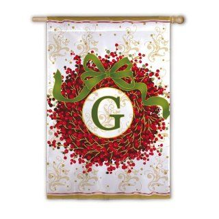 Holiday Monogram Wreath G House Flag Letter Initial Christmas Monogrammed : Outdoor Flags : Patio, Lawn & Garden