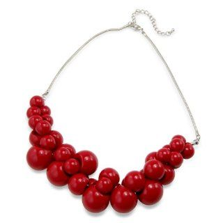 Chunky Cluster Red Costume Jewellery Necklace   Includes stunning gift bag   Ideal jewellery present: Pendant Necklaces: Jewelry