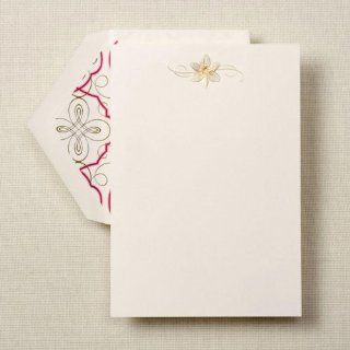 Hand Engraved Fleur de Lis Half Sheets : Blank Note Cards : Office Products