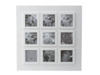 Present Time Photo Frame Pure White Wood Collage, 4 by 4 Inch   Multi Picture Frames White