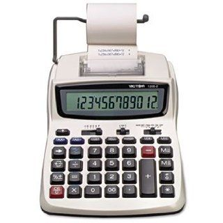 Victor Products   Victor   1208 2 Compact Desktop Calculator, 12 Digit LCD, Two Color Printing, Black/Red   Sold As 1 Each   Compact keyboard layout is ideal for limited available desktop space.   Quickly solve cost sell margin by entering two variables to