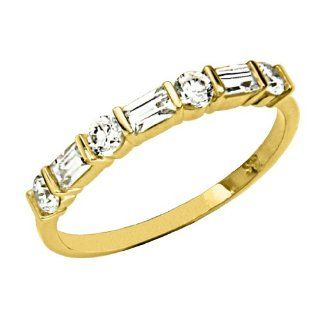 14K Yellow Gold Round & Baguette CZ Cubic Zirconia High Polish Finish Ladies Wedding Band Ring: Goldenmine: Jewelry