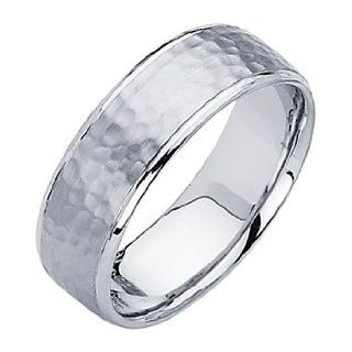 14K White Gold 7mm Comfort Fit Hammered Finish Designer Wedding Band Ring for Men & Women: Men S Wedding Bands Hammered: Jewelry