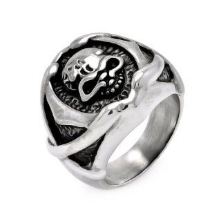 Stainless Steel 21.5mm High Polish Oxidized Skull Head Design Fashion Ring for Men (Size 9 to 13): Jewelry