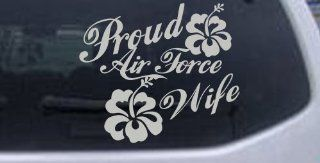 Silver 5in X 5.8in    Proud Air Force Wife Hibiscus Flowers Military Car Window Wall Laptop Decal Sticker: Automotive