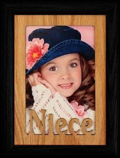 5x7 NIECE ~ Portrait BLACK Picture Frame ~ Holds a 4x6 or Cropped 5x7 Photo ~ Wonderful Keepsake Gift for a Proud Uncle or Aunt   Single Frames