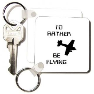 Florene Numbers Symbols And Sayings   ID Rather Be Flying with Image Of Plane   Key Chains   set of 2 Key Chains: Clothing