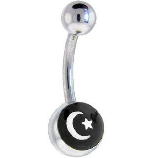 Black and White Moon and Star Logo Belly Button Ring: Jewelry