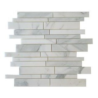 Calacatta Gold Random Strip Polished Marble Mosaic Tiles From Italy