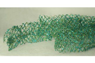 5' Sugared Fruit Turquoise Glittered & Wired Mesh Unlit Net Christmas Garland : Everything Else