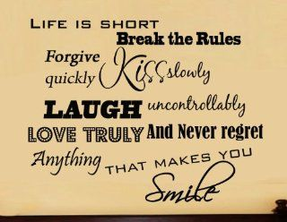 Life is Short, Break the Rules, Forgive Quickly, Kiss Slowly Inspirational Vinyl Wall Decals Home Decor Saying Vinyl Lettering   Wall Decor Stickers
