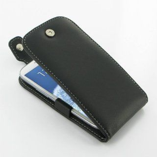 Samsung Galaxy S3 siii leather case   Flip Top Type (Black) GT i9300   PDair: Electronics