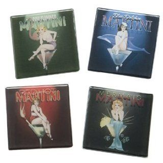 Ralph Burch Martini Pin Up Girls Glass Coasters Bar: Kitchen & Dining