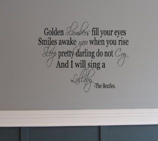 Golden Slumber The Beatles song 36x23 quote wall Saying vinyl lettering   Wall Decor Stickers