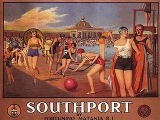 SOUTHPORT RHODE ISLAND SWIMMING POOL VINTAGE POSTER CANVAS REPRO   Prints