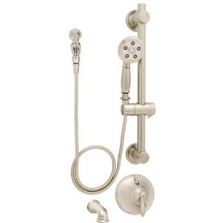 Speakman SM 6490 ADA P BN Alexandria Anystream Handheld Shower with hose, Diverter Shower Valve, and ADA Adjustable Grab Bar, Brushed Nickel   Single Handle Shower Only Faucets