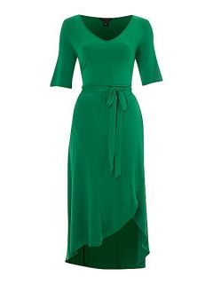 Lands End Asymetric fluid wrap dress Green