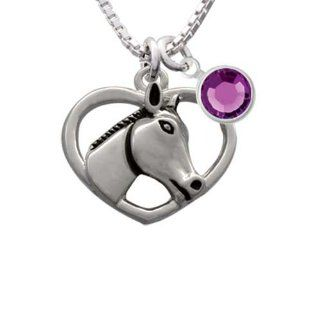 Heart with Horse Head Charm Necklace with Sapphire Crystal Drop: Delight & Co.: Jewelry