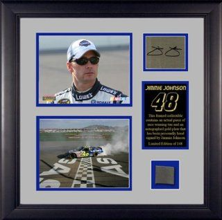 Jimmie Johnson Autographed Picture   FRAMED 2S wPLATETIRE : Sports Related Collectibles : Sports & Outdoors