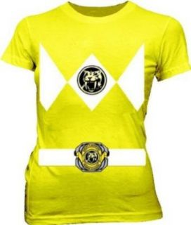 Power Rangers Yellow Ranger Costume Yellow Juniors T Shirt Tee: Clothing