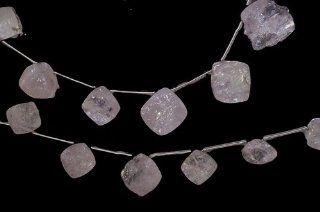 "Kunzite Diamond shape Side drilled 6mm 9mm Beads Genuine Flat Nugget Gemstone Strand 7"""