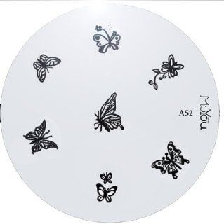 Moyou Nail Art Image Plate A52 including 7 Nailart designs on metal stencil, easy to apply, amazing results, accessories for women : Nail Art Equipment : Beauty