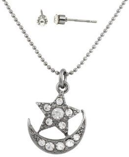 8 Pieces of Ladies Gun Metal with Clear Iced Out Star & Crecent Moon Pendant with a 16 Inch Ball Chain Necklace & Matching Stud Earrings Jewelry Set: Jewelry