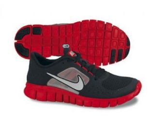NIKE Free Run 3 Junior Running Shoes, Black/Grey/Red, US6 Shoes