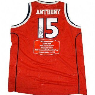 Carmelo Anthony Syracuse Orange Autographed Stat Jersey Limited Edition of 15 : Sports Related Collectibles : Sports & Outdoors