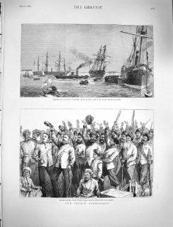 1878 Transport Ships Port Said Indian Army Bombay War   Prints