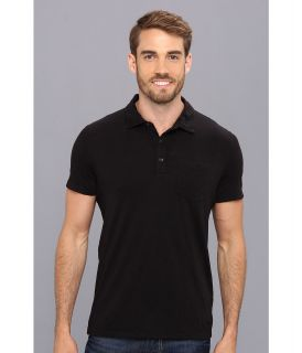 Kenneth Cole Sportswear Polo With Woven Taping Mens Short Sleeve Pullover (Black)