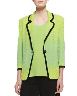 Womens Ombre Knit Contrast Piping Jacket   Misook   Bud/Lime/Black (X SMALL